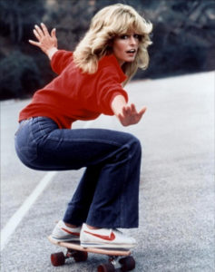 retro fashion Farrah Fawcett skateboard