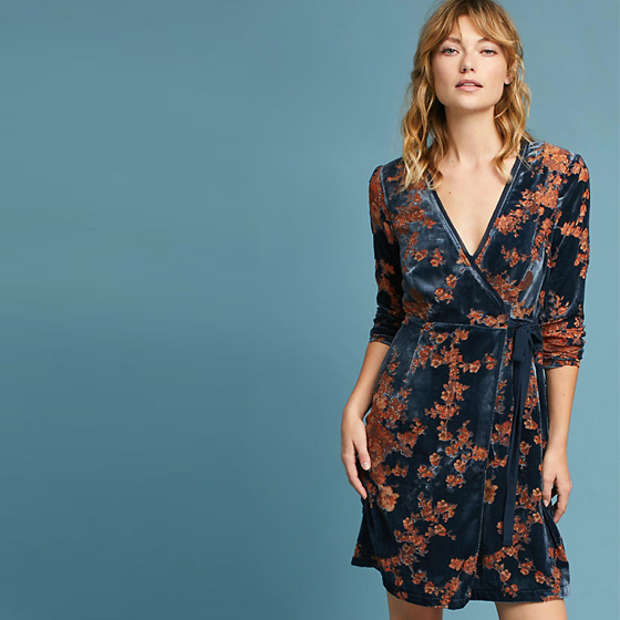 robe croisée velours bicolore Anthropologie Londres