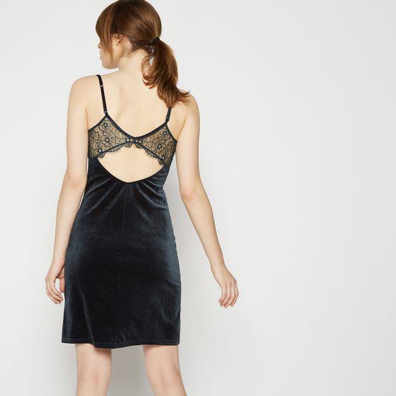 robe combinette velours et dentelle dans le dos Monoprix