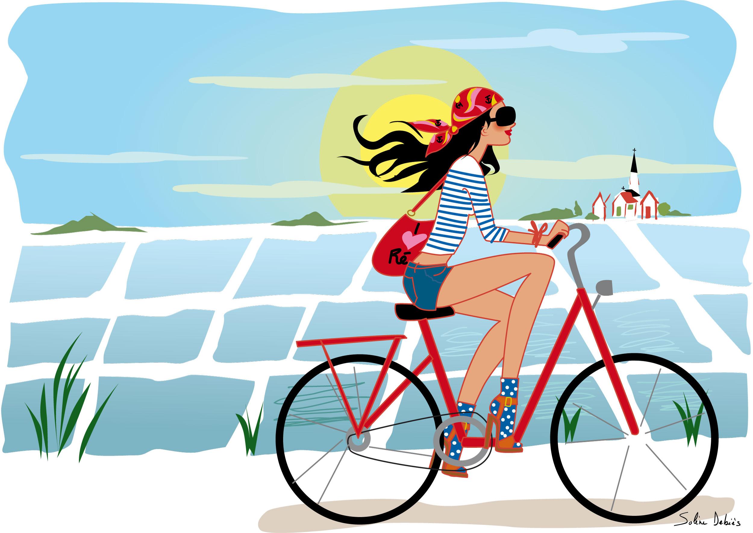 illustration femme vélo ile de ré Solene Debies
